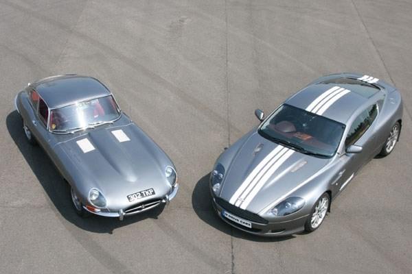 Jaguar E Type And Aston Martin Driving Thrill
