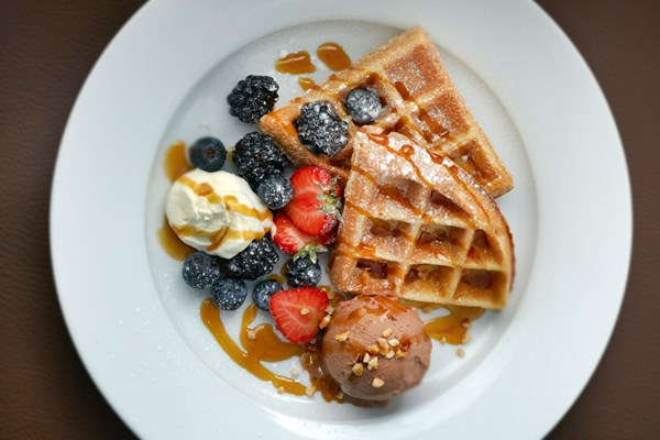 Luxury Waffles And Hot Drink For Two