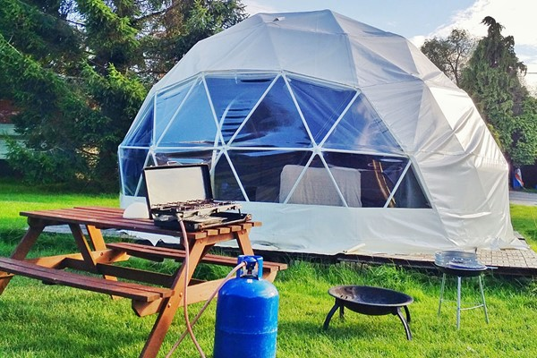 Buy One Night Glamping Break with Bottle of Fizz for Two in Dome, Yurt or Bell Tent
